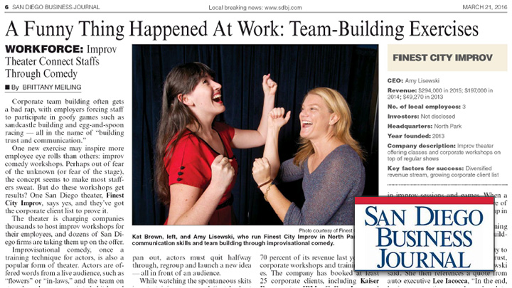San Diego Business Journal reviews Finest City Improv's training for businesses